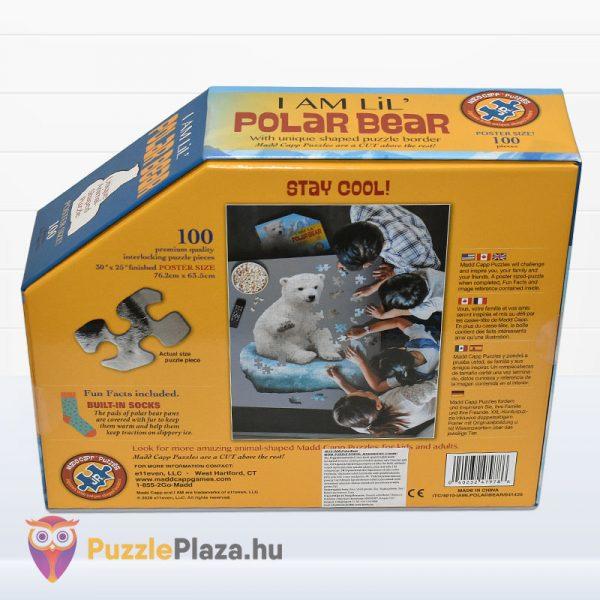 100 darabos jegesmedve formájú puzzle, wow toys - hátulról