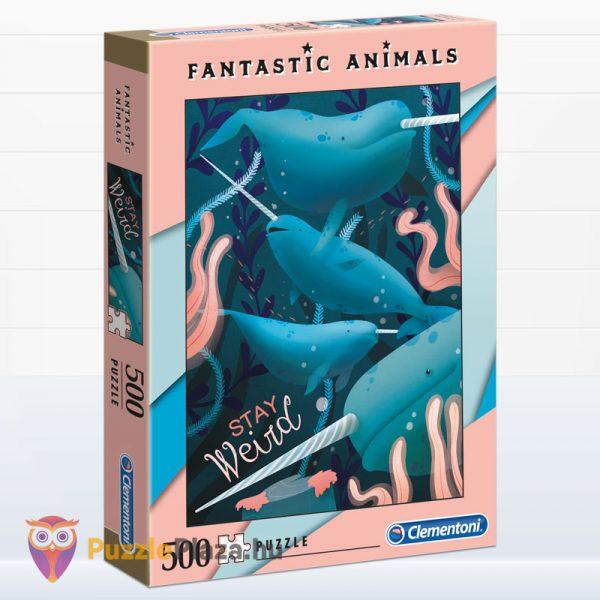 500 darabos narválok digitális illusztráció puzzle - Clementoni Fantastic Animals 35070