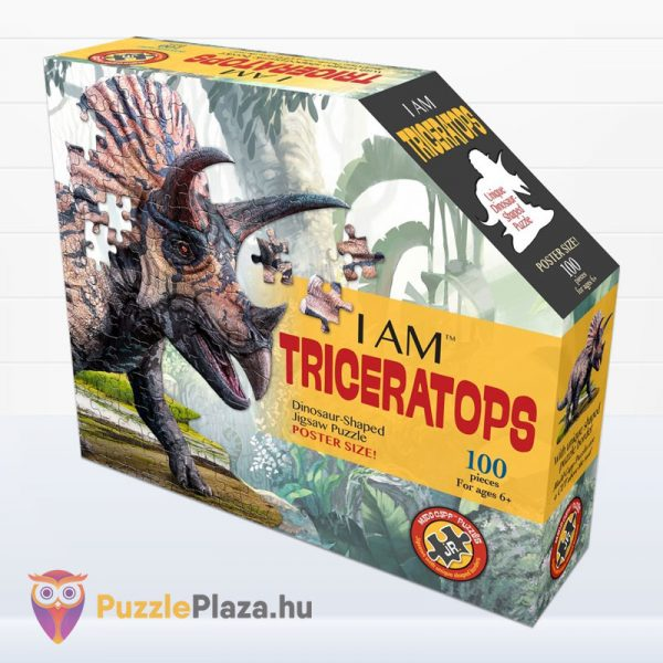 100 darabos triceratopsz dinós élethű forma puzzle - Wow Toys doboz