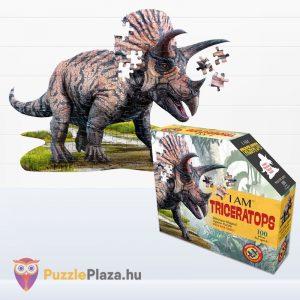 100 darabos triceratopsz dinós élethű forma puzzle - Wow Toys doboz és kirakott kép