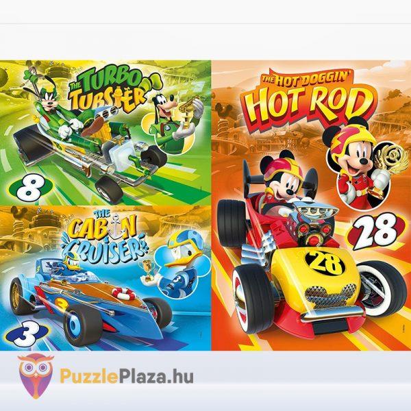 3x48 darabos Clementoni Supercolor Mickey és barátai autóverseny puzzle kirakott képe