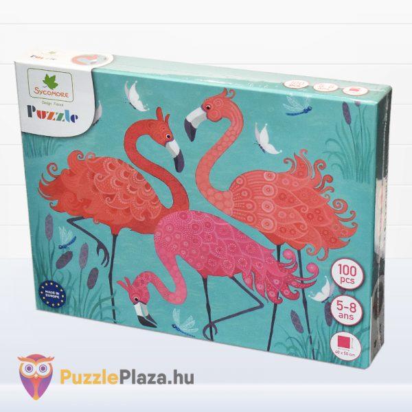 100 darabos Sycomore Flamingós puzzle doboza jobbról