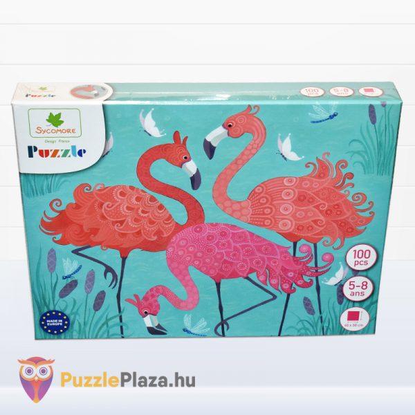 100 darabos Sycomore Flamingós puzzle doboza előről