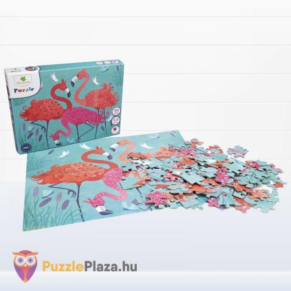 100 darabos Sycomore Flamingós puzzle doboza és kirakott képe