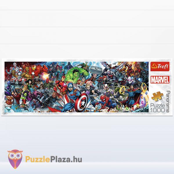 1000 darabos Marvel szuperhősök panoráma puzzle doboza előről