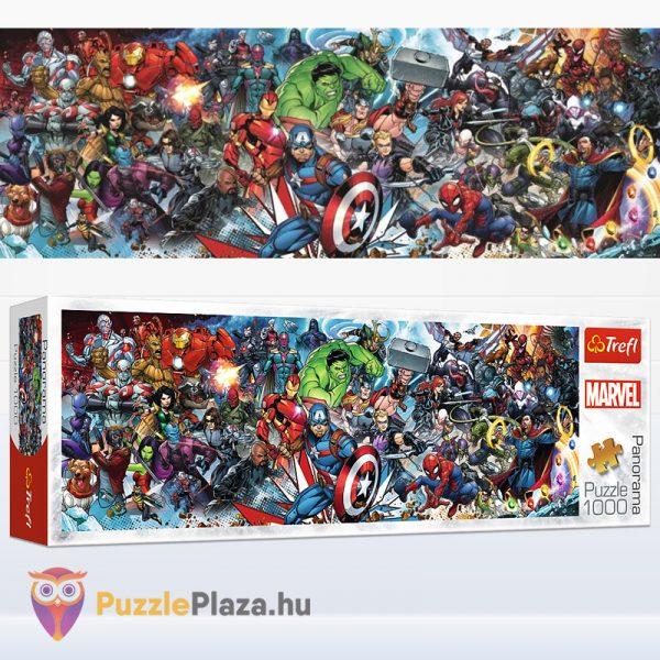 1000 darabos Marvel szuperhősök panoráma puzzle doboza és kirakott képe