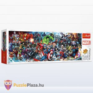 1000 darabos Marvel szuperhősök panoráma puzzle doboza oldalról