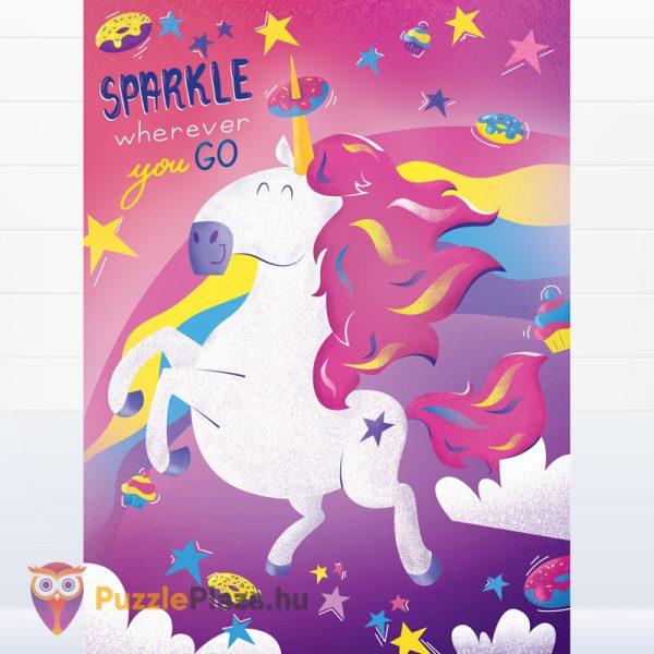 500 darabos unikornis puzzle kirakott képe- Clementoni Fantastic Animals 35066