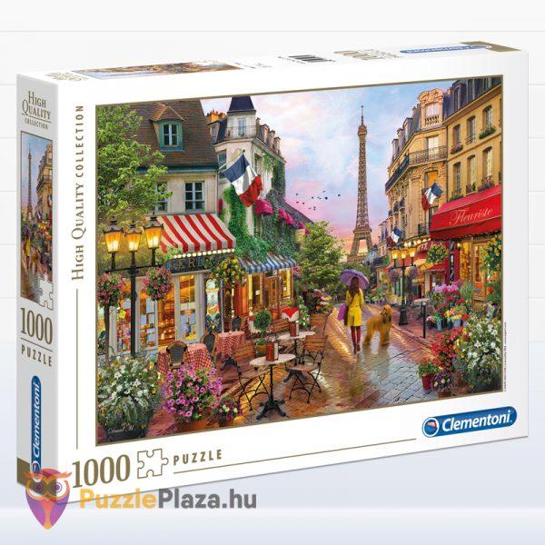 1000 darabos virágba borult Párizs puzzle. Clementoni 39482 doboza