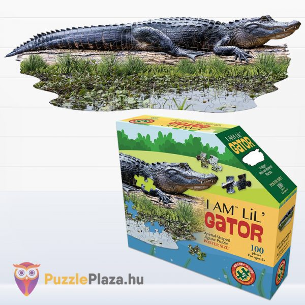 100 darabos aligátor forma puzzle kirakott képe és doboza - Wow Toys