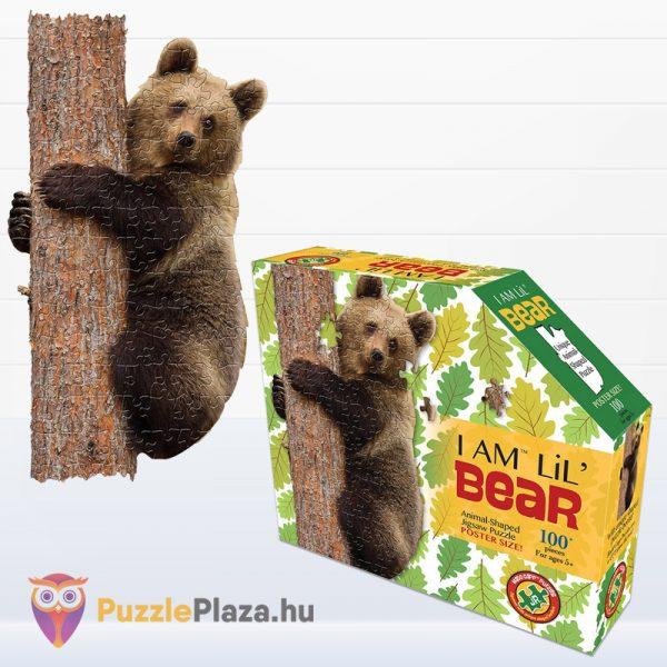 100 darabos barna medve forma puzzle kirakott képe és doboza - Wow Toys