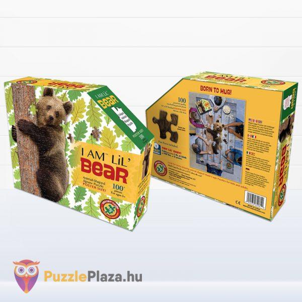 100 darabos barna medve forma puzzle doboza előről és hátulról - Wow Toys