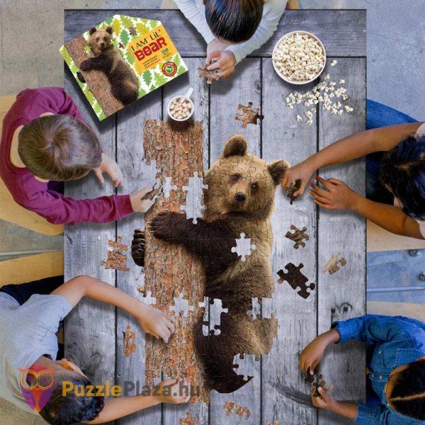 100 darabos barna medve forma puzzle kirakózás közben - Wow Toys