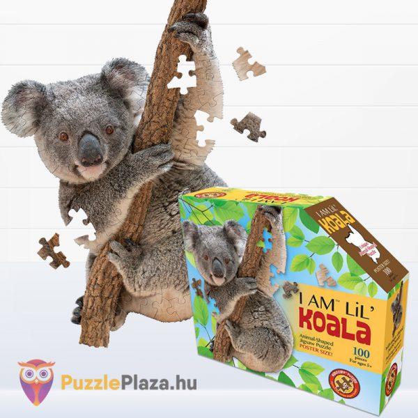 100 darabos koala forma puzzle doboza és kirakott képe