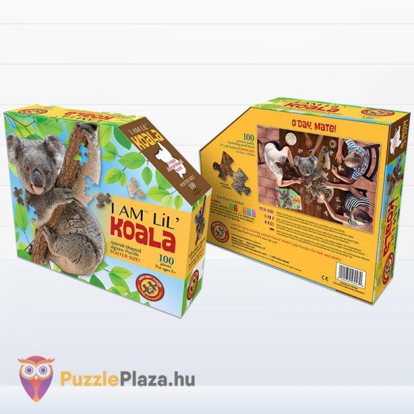 100 darabos koala forma puzzle doboza előről és hátulról