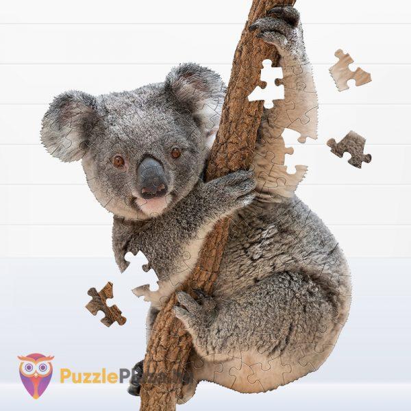 100 darabos koala forma puzzle kirakott képe és darabkái