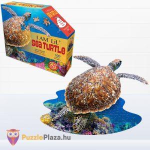 100 darabos teknős alakú forma puzzle doboza és kirakott képe