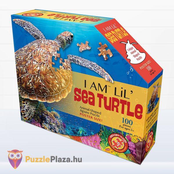100 darabos teknős alakú forma puzzle doboza előről