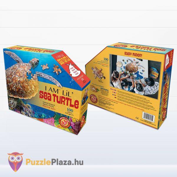 100 darabos teknős alakú forma puzzle doboza előről és hátulról