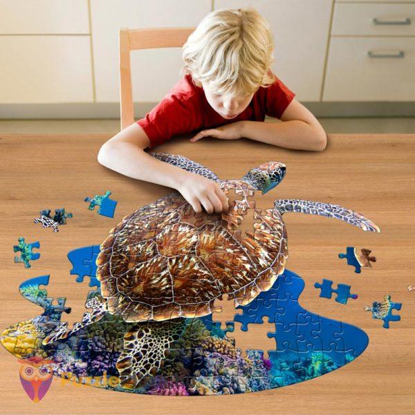 100 darabos teknős alakú forma puzzle gyerek kirakózás