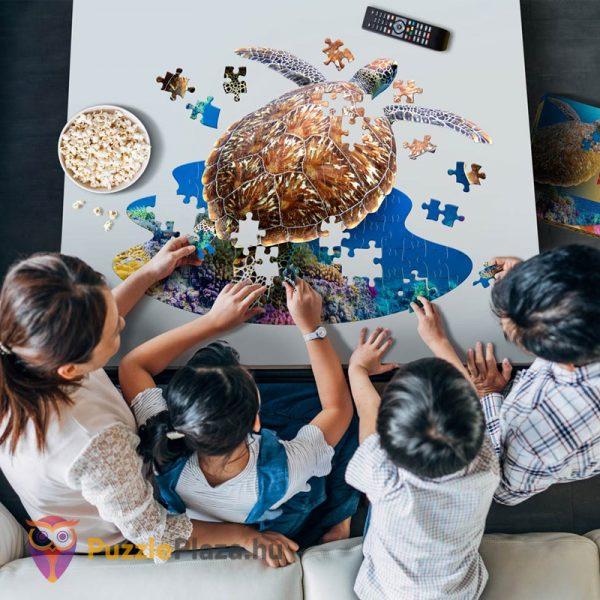 100 darabos teknős alakú forma puzzle családi kirakózás