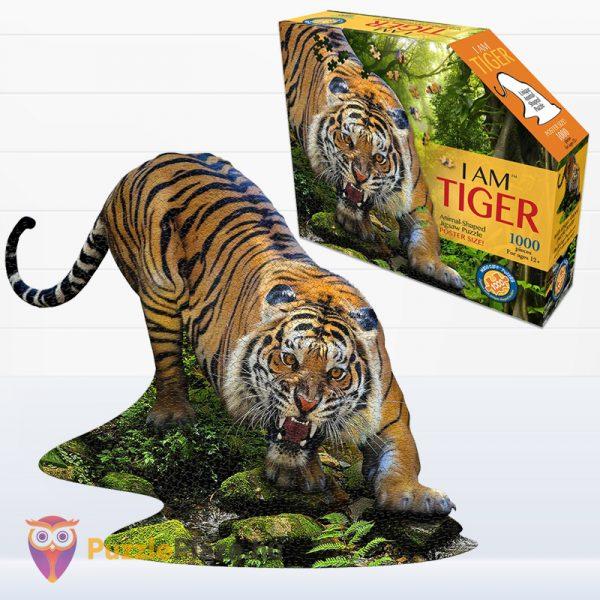 1000 darabos poszter méretű tigris forma puzzle kirakott képe és doboza - Wow Toys