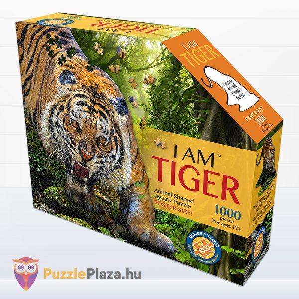 1000 darabos poszter méretű tigris forma puzzle doboza előről - Wow Toys