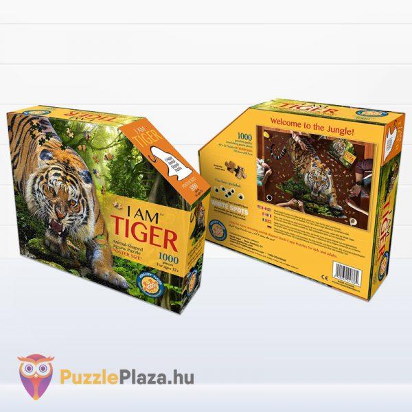1000 darabos poszter méretű tigris forma puzzle doboza előről és hátulról - Wow Toys