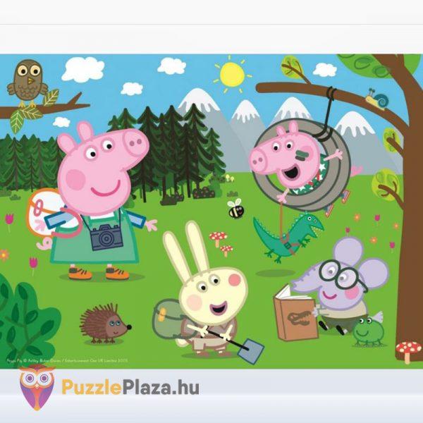 30 darabos Peppa Malac puzzle, az erdő felfedezése kirakott képe a Trefl-től.