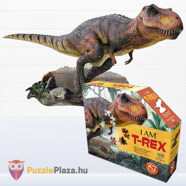 100 darabos T-Rex dinoszaurusz forma puzzle doboza és kirakott képe - Wow Toys