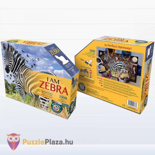 Poszer méretű 1000 darabos zebra forma puzzle dobozának eleje és hátulja - Wow Toys