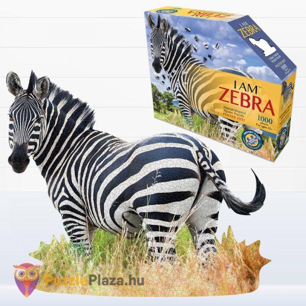 Poszer méretű 1000 darabos zebra forma puzzle doboza és kirakott képe - Wow Toys