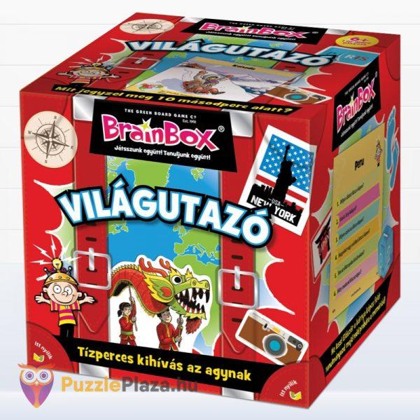 Világutazó tematikus Brainbox memóriajáték doboza