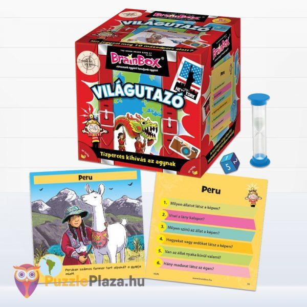 Világutazó tematikus Brainbox memóriajáték doboza és tartozékai