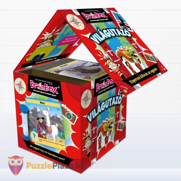 Világutazó tematikus Brainbox memóriajáték doboza nyitva