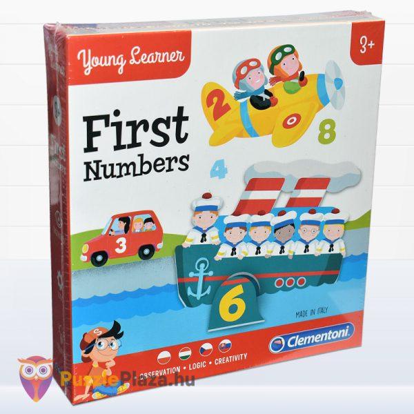 Első számaim óvodás oktatójáték doboza balról - Clementoni First Numbers