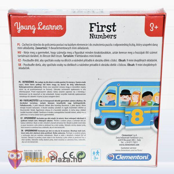 Első számaim óvodás oktatójáték doboza hátulról - Clementoni First Numbers