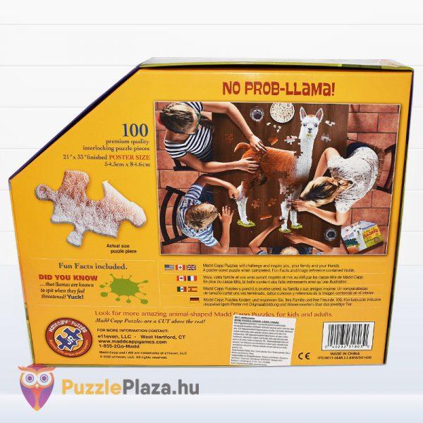 100 darabos poszter méretű láma forma puzzle doboza hátulról. Wow Toys