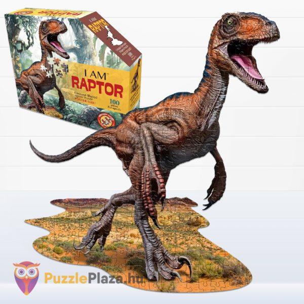100 darabos raptor forma puzzle doboza előről és kirakott képe - Wow Toys