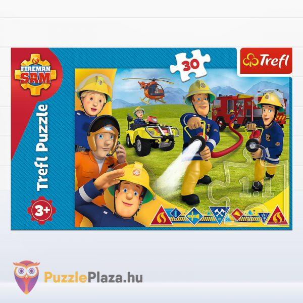 30 darabos Sam, a tűzoltó puzzle - Segítségre készen - Trefl 18244 doboz előről