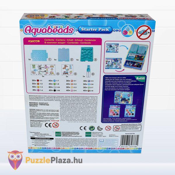 Aqua Beads kezdő szett gyöngyök doboza hátulról