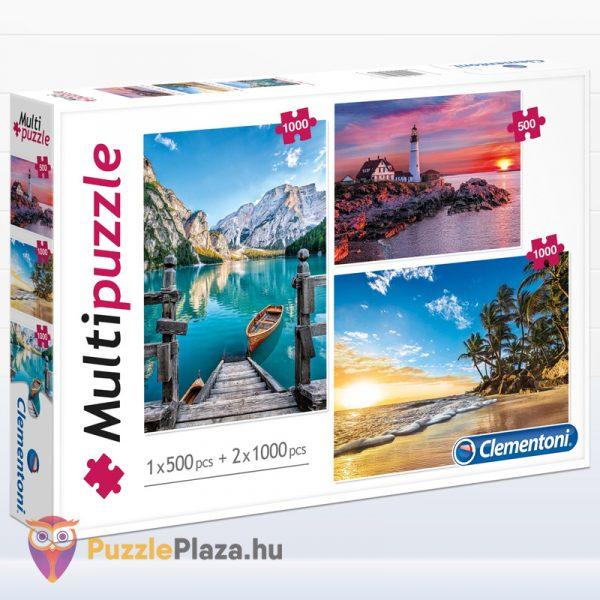 1x500 és 2x1000 darabos hegyek, világítótorony és trópusi tengerpart multi puzzle. Clementoni 08106