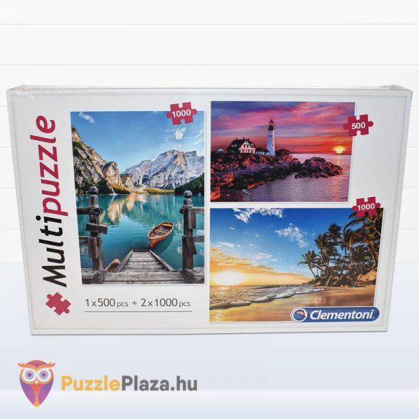 1x500 és 2x1000 darabos hegyek, világítótorony és trópusi tengerpart multi puzzle előről. Clementoni 08106