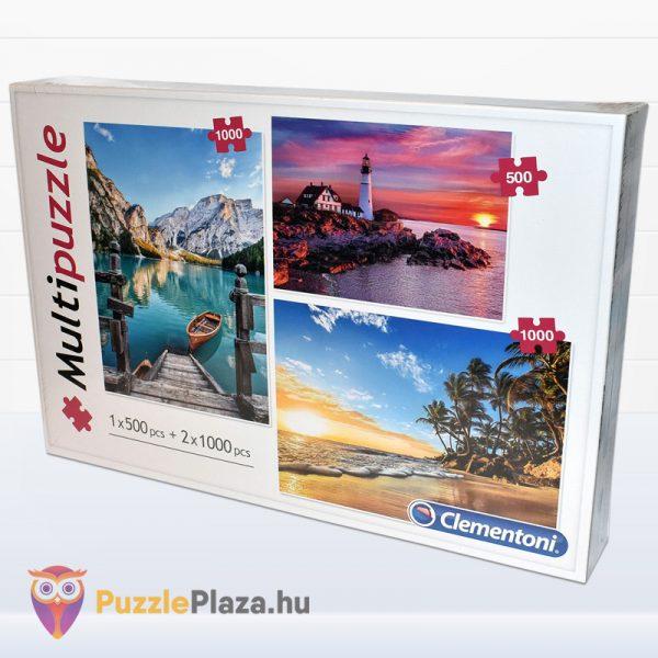 1x500 és 2x1000 darabos hegyek, világítótorony és trópusi tengerpart multi puzzle balról. Clementoni 08106